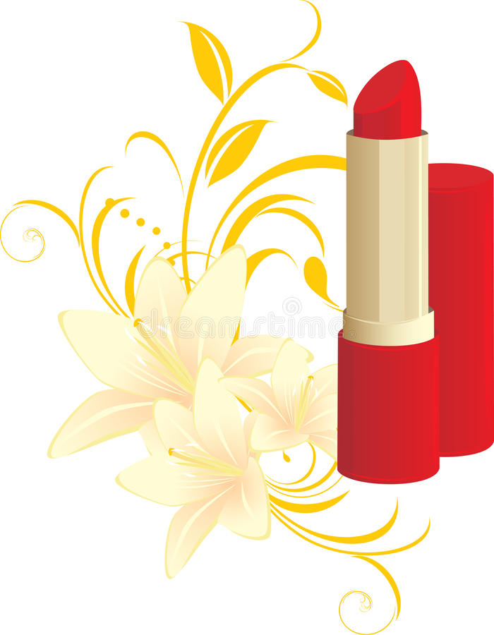 花卉百合唇膏装饰品红色 皇族释放例证