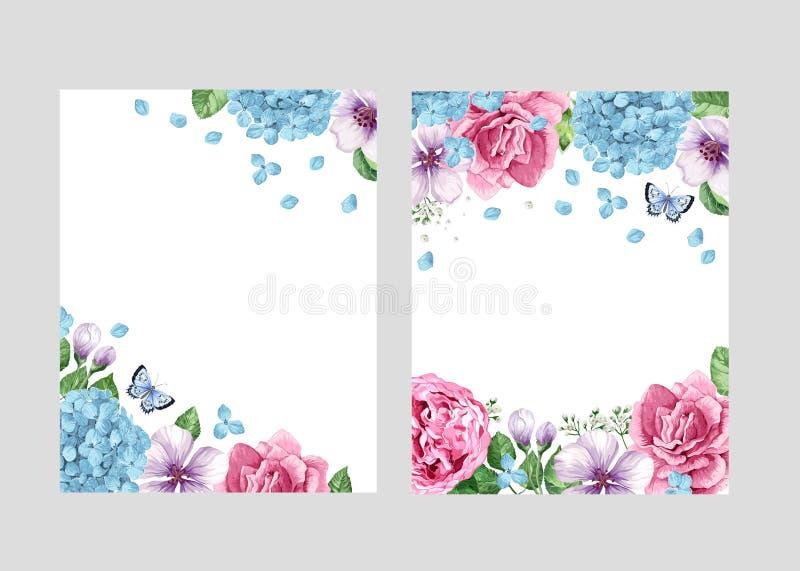 花卉空白的模板集合 在水彩的花在网横幅的白色背景