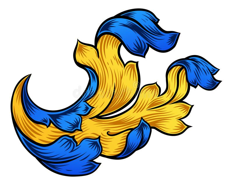 花卉纸卷样式金银细丝工的纹章设计 皇族释放例证
