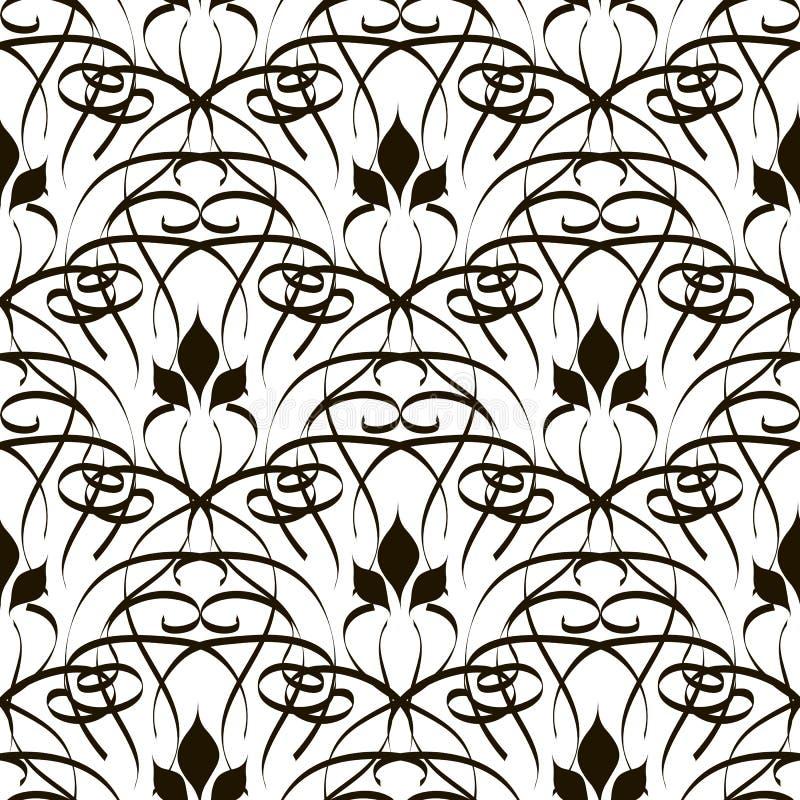 花卉线艺术网眼图案传染媒介无缝的样式 乱画手拉的线装饰与抽象花,叶子 E 库存例证