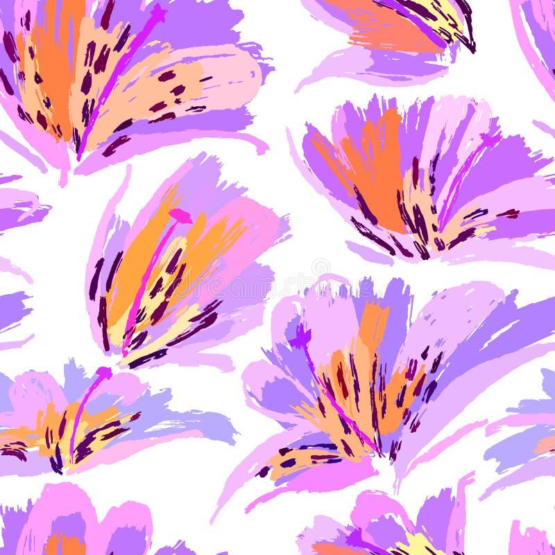 花卉绘画无缝的样式 与植物的主题的无权五颜六色的背景 手拉的艺术性的背景 向量例证
