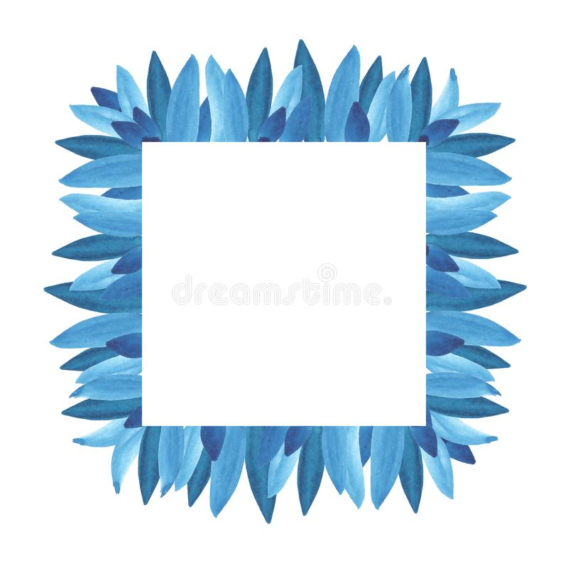 花卉绿叶卡片设计:分支蓝色离开叶子草本方形的绿叶框架 库存例证