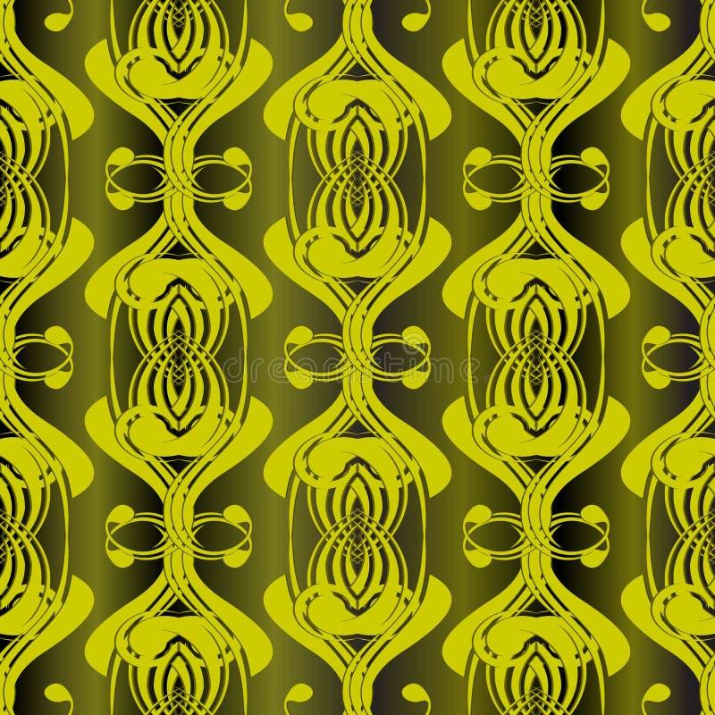 花卉绿色单色抽象无缝的样式 葡萄酒vecto 皇族释放例证