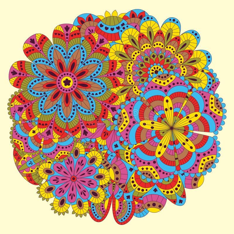 花卉背景由许多坛场做成 圆形 有益于婚礼、邀请卡片、生日等等 创造性的手拉的ele 向量例证