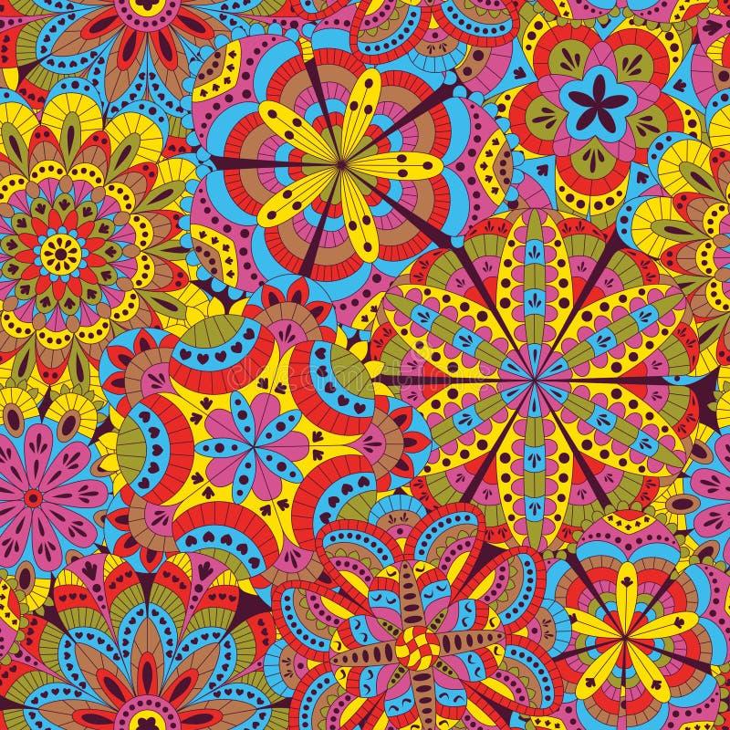 花卉背景由许多坛场做成 无缝的模式 有益于婚礼、邀请卡片、生日等等 创造性的手凹道 向量例证