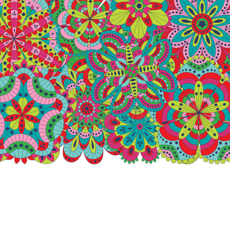 花卉背景由许多坛场做成 向量例证