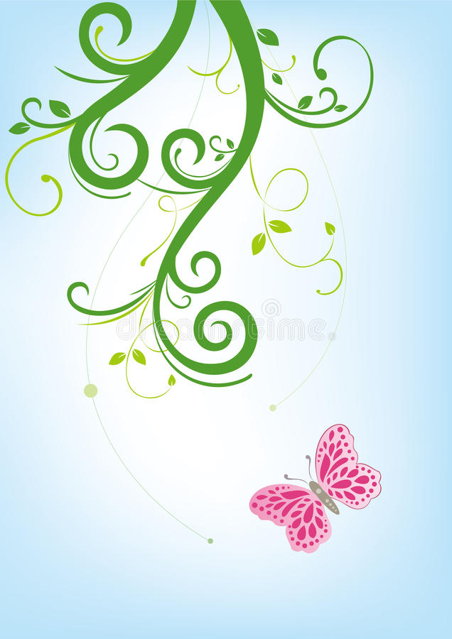 花卉背景蝴蝶 向量例证