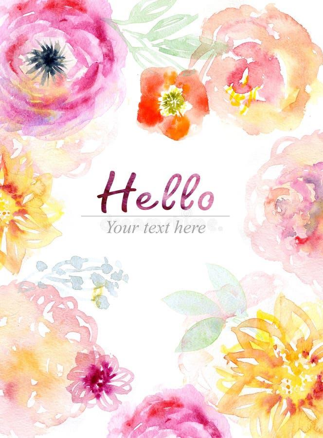 花卉背景,水彩绘画卡片 向量例证