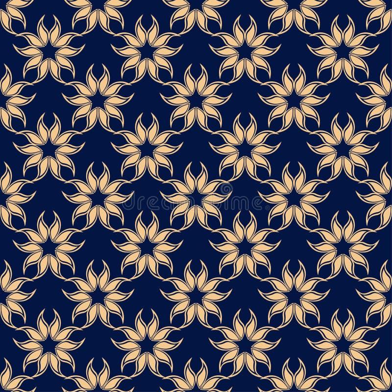 花卉色的无缝的样式 与fower元素的金黄蓝色背景墙纸的 皇族释放例证