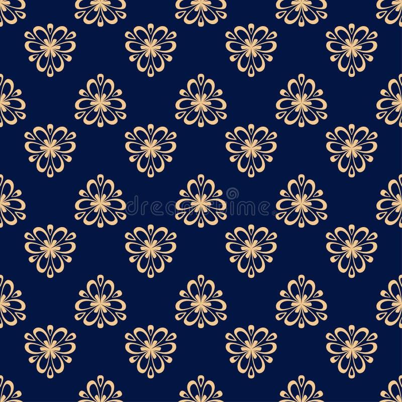 花卉色的无缝的样式 与fower元素的金黄蓝色背景墙纸的 库存例证