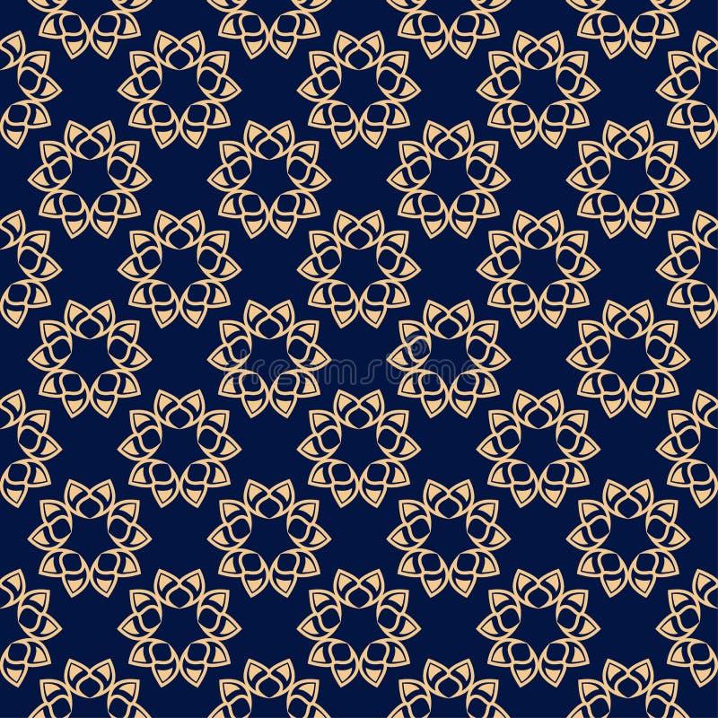 花卉色的无缝的样式 与fower元素的金黄蓝色背景墙纸的 向量例证