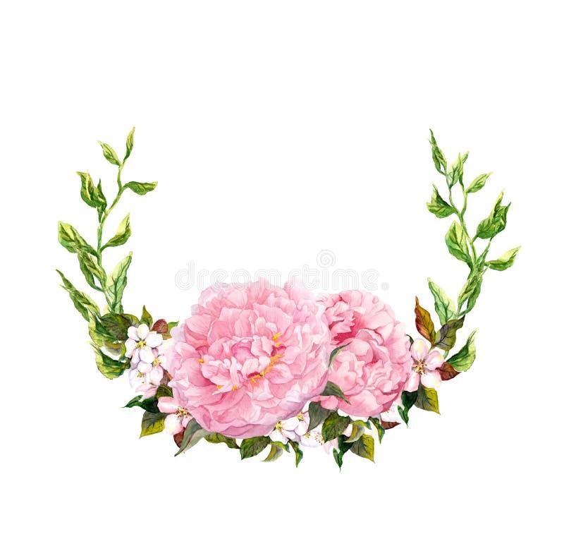 花卉花圈-桃红色牡丹花 保存婚姻的日期卡片 水彩 向量例证