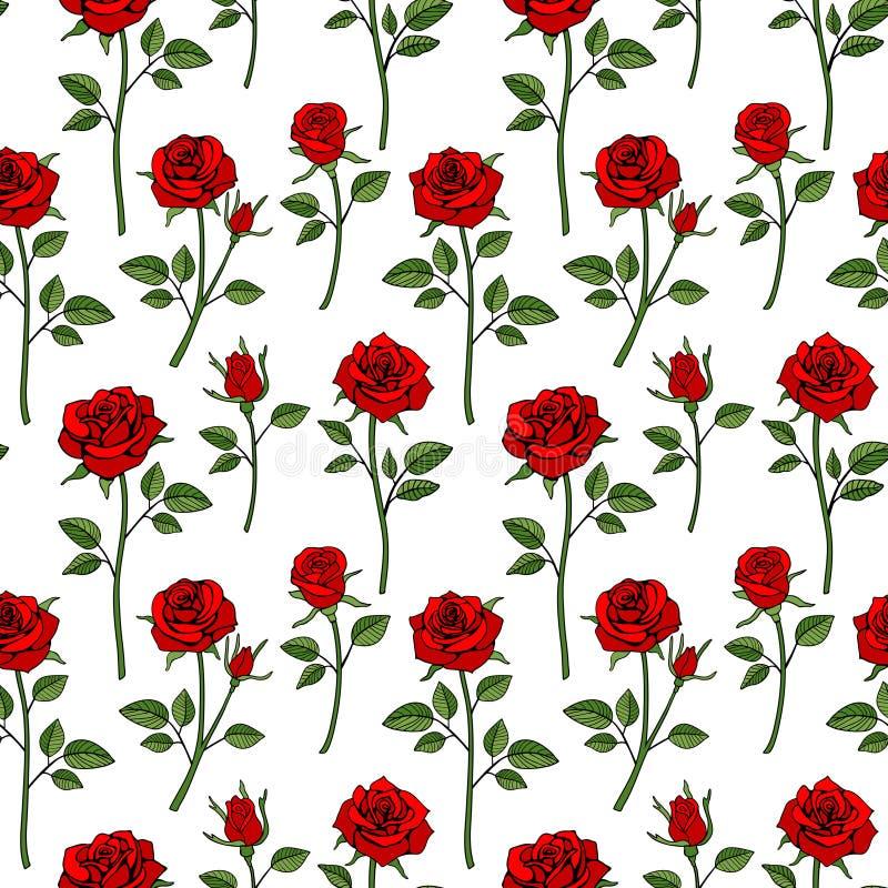 花卉英国维多利亚女王时代的无缝的背景 庭院玫瑰色样式 皇族释放例证