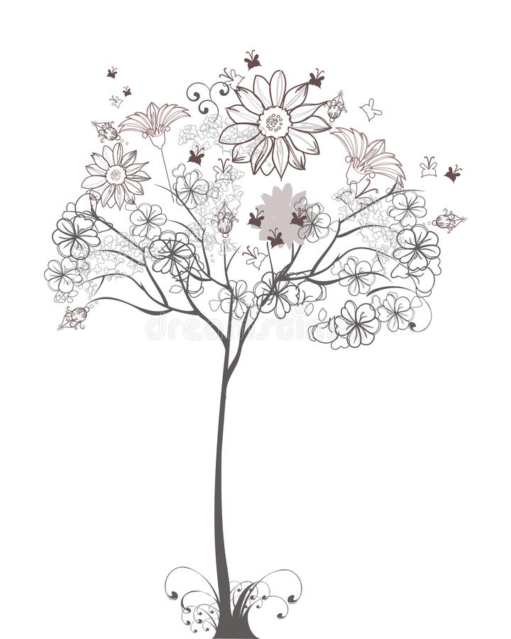 花卉草图结构树 向量例证
