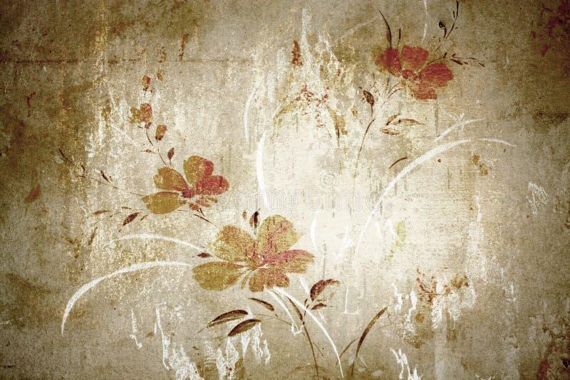 花卉葡萄酒墙纸 免版税库存图片