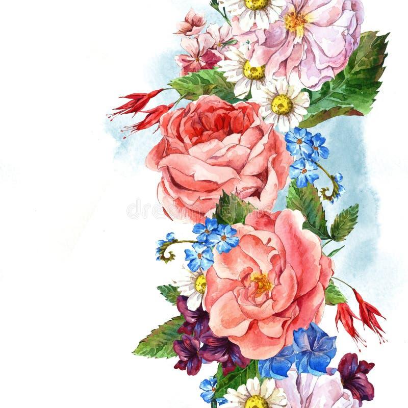 花卉葡萄酒无缝的边界,水彩 皇族释放例证