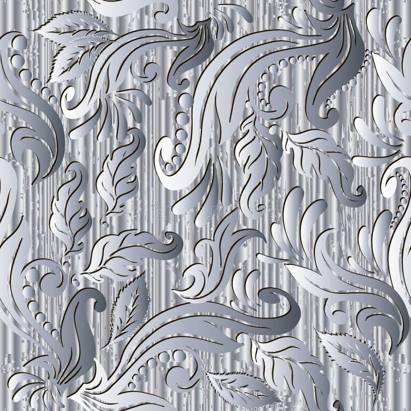 花卉葡萄酒白色3d传染媒介无缝的样式 织地不很细表面背景 抽象重复难看的东西背景 手拉的银 库存例证