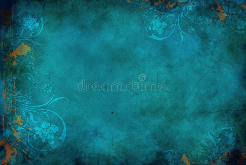 花卉葡萄酒背景蓝色 免版税库存照片