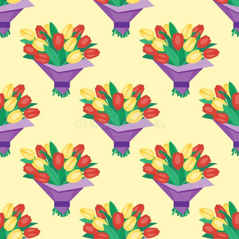 花卉葡萄酒花卉传染媒介花束庭院花无缝的样式背景植物的自然例证夏天 向量例证