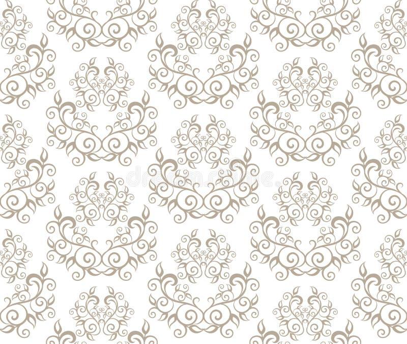 花卉葡萄酒经典之作藤的典雅的无缝的样式 库存例证