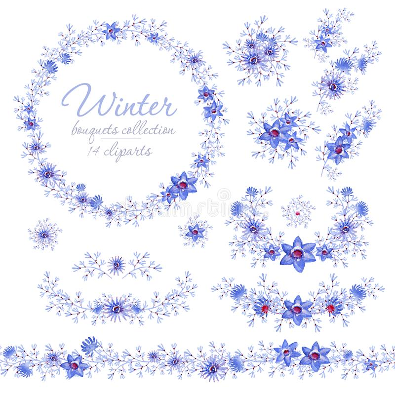 花卉蓝色冬天花束、圆环和传送带 婚姻的设计的,艺术创作Cliparts 库存照片