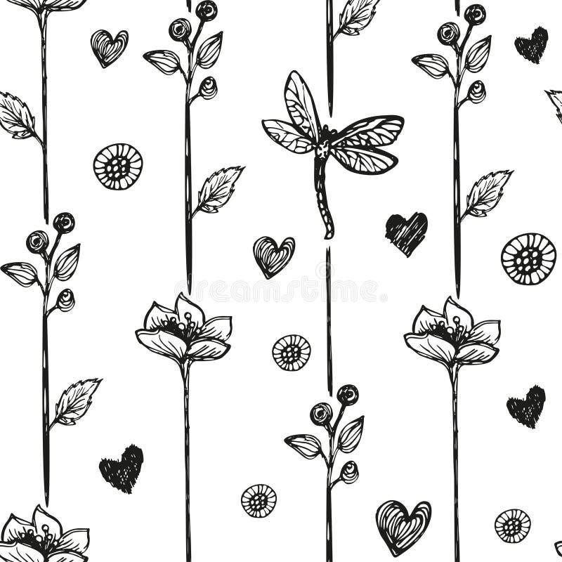 花卉蜻蜓摘要背景,无缝 也corel凹道例证向量 库存例证