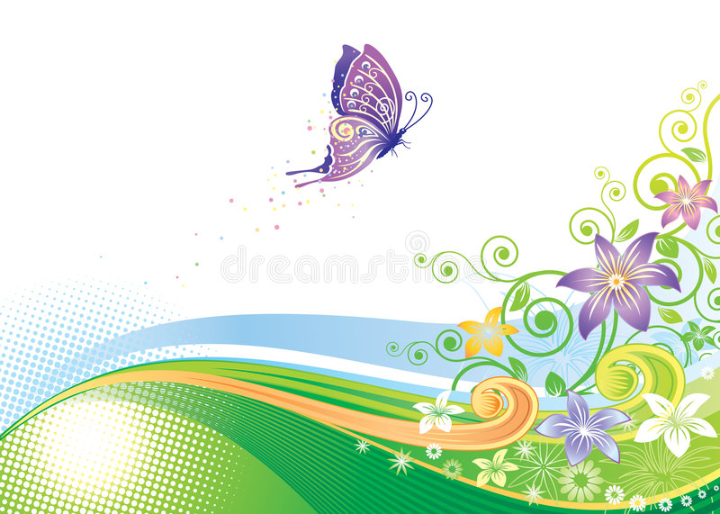 花卉蝴蝶设计 皇族释放例证