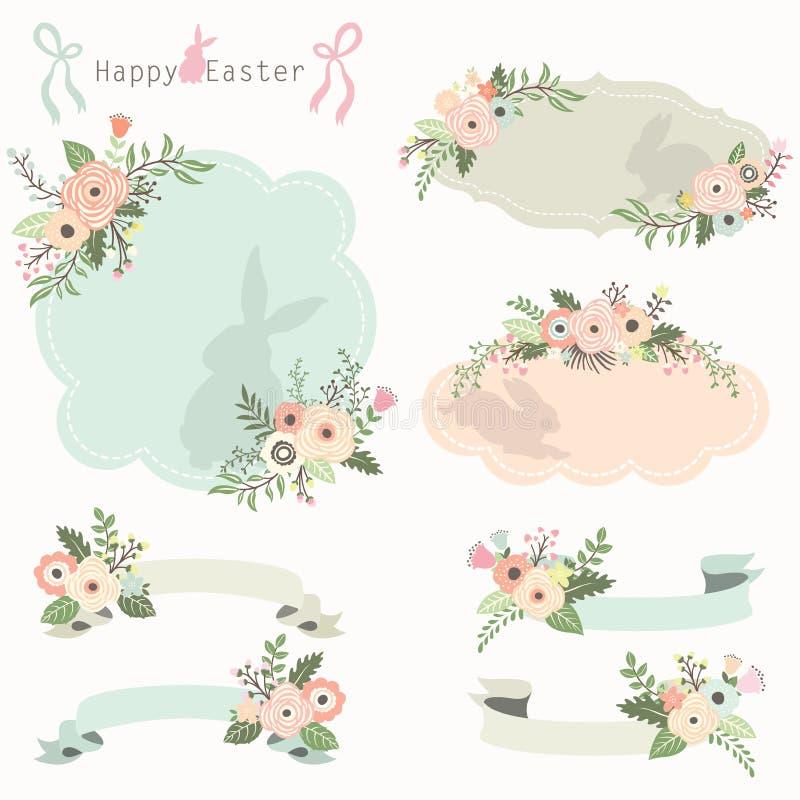 花卉被设置的复活节框架和横幅 向量例证