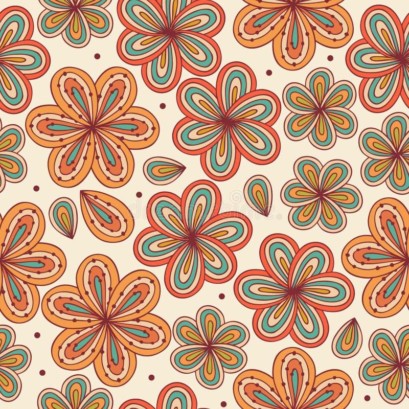 花卉装饰无缝的样式。装饰花背景。印刷品的,工艺,纺织品不尽的乱画纹理 向量例证