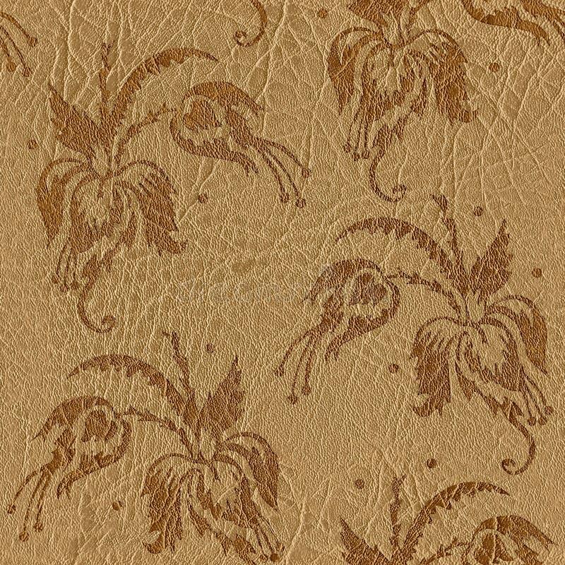 花卉装饰样式-皮革纹理-无缝的backgroun 库存例证