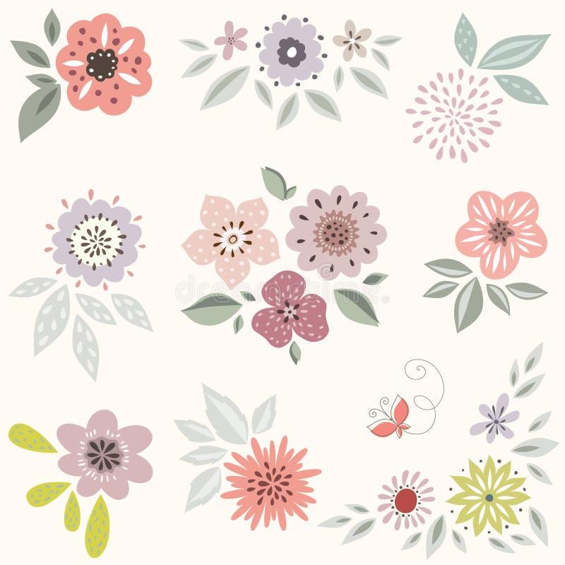花卉装饰要素许多设置了 向量例证