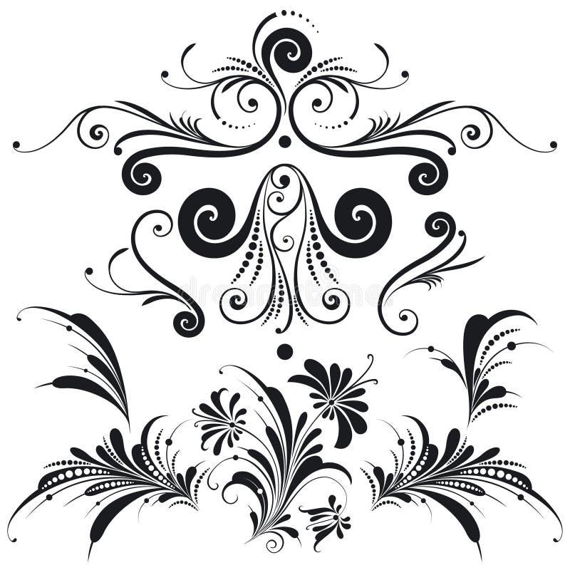花卉装饰设计要素 向量例证