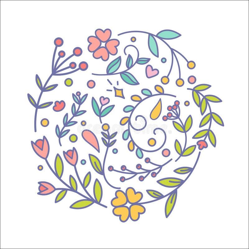 花卉装饰集合 另外传染媒介植物的装饰元素 线冲程植物和花简单的华丽开花 皇族释放例证