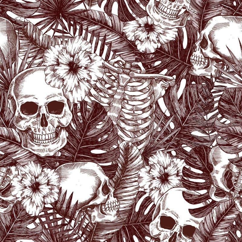 花卉解剖学 万圣夜热带葡萄酒无缝的样式 Creppy密林头骨背景 皇族释放例证