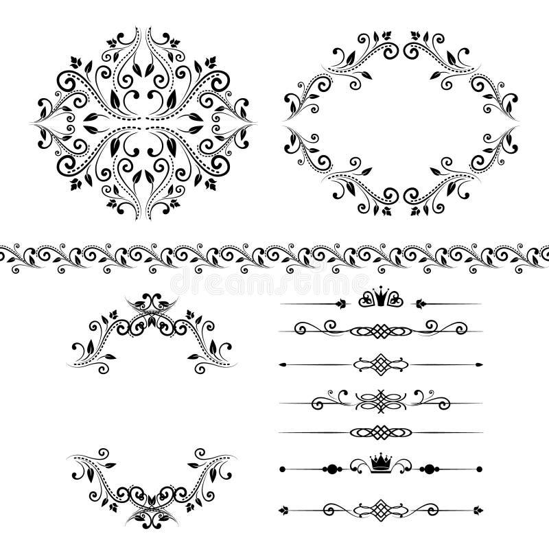 花卉设计元素集、装饰葡萄酒边界、框架和分切器 皇族释放例证