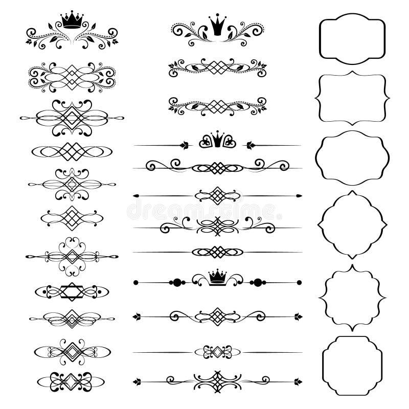 花卉设计元素集,与冠的装饰葡萄酒框架 向量例证