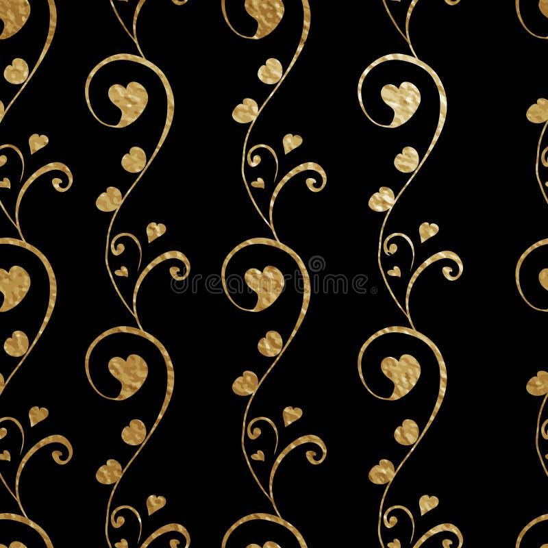 花卉设计的无缝的样式 与心脏芽的抽象风格化花 在黑背景的金黄概述 皇族释放例证