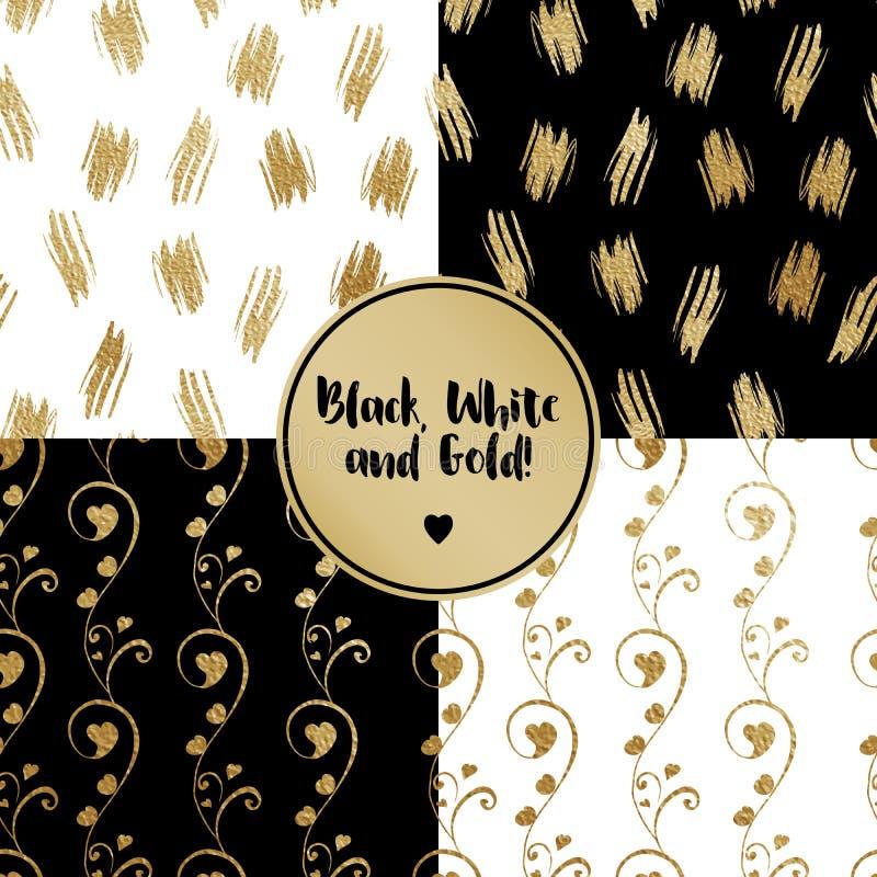 花卉设计的无缝的样式 与心脏芽的抽象风格化花 在黑背景的金黄概述 库存例证
