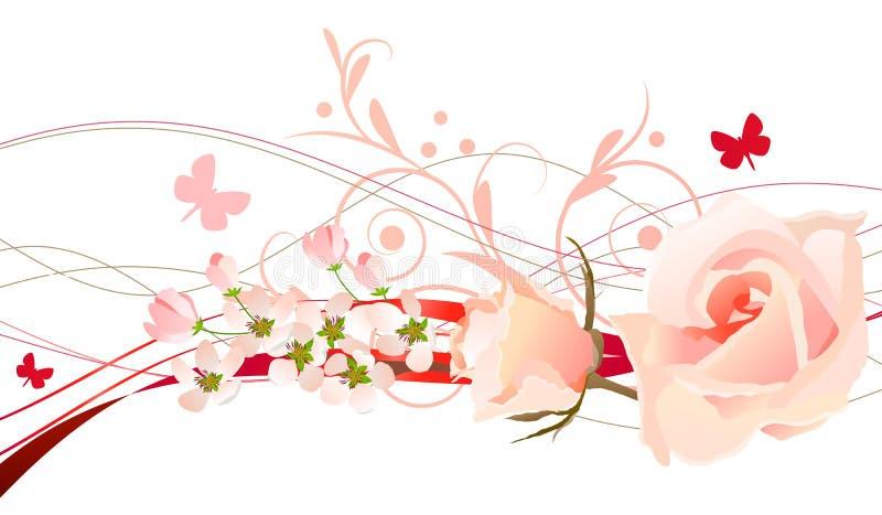 花卉设计要素 库存例证
