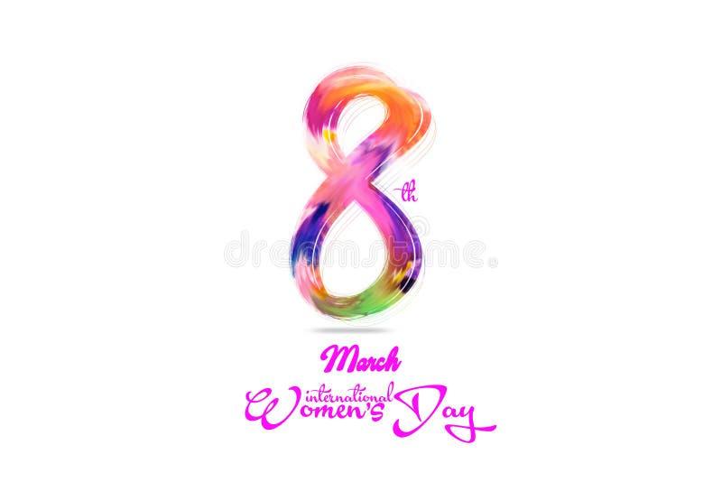 花卉设计贺卡为国际妇女` s天 与文本天的3月8日,妇女` s白色背景 库存例证