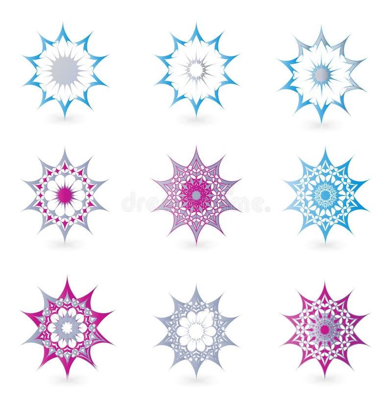 花卉详细装饰图形设计要素 皇族释放例证