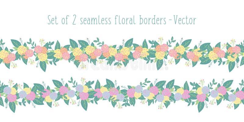 花卉边界传染媒介设置了无缝与风格化花 春天或夏天花诗歌选桃红色橙黄蓝色,绿色 皇族释放例证