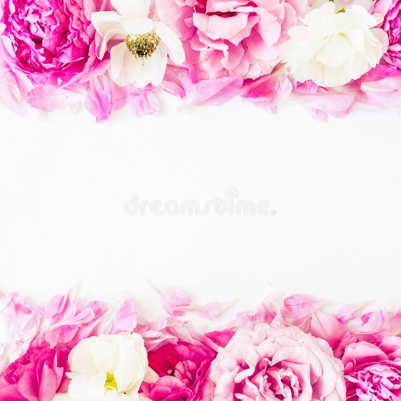 花卉边界框架由桃红色玫瑰做成在白色背景 平的位置,顶视图 情人节构成 免版税图库摄影