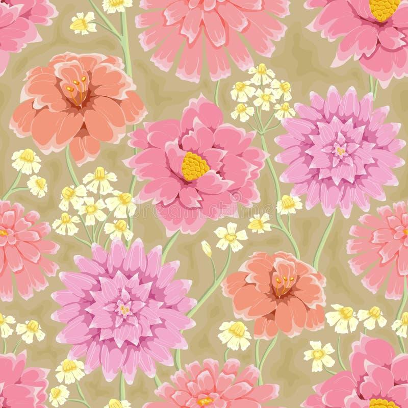 花卉重复的墙纸 向量例证