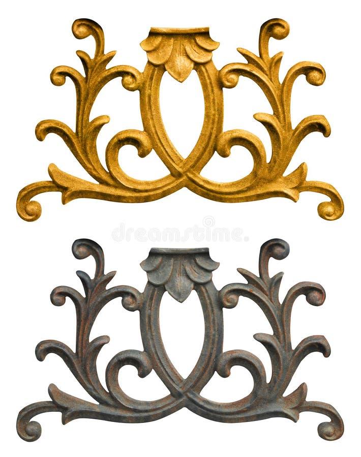 花卉金子被镀的葡萄酒的装饰品 免版税库存照片