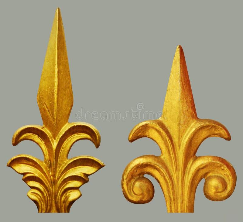 花卉金子被镀的葡萄酒的装饰品 库存图片