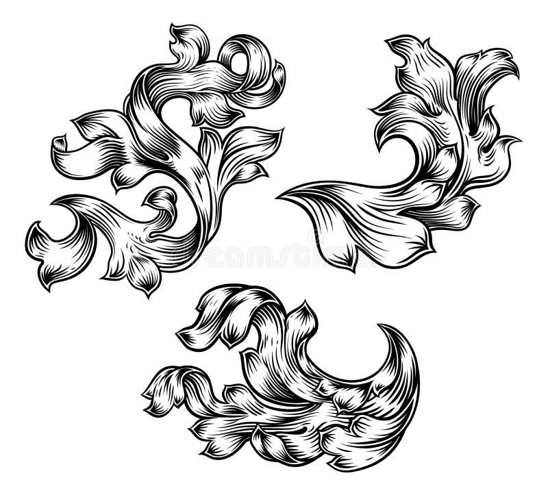 花卉金银细丝工的样式纸卷纹章设计集合 向量例证