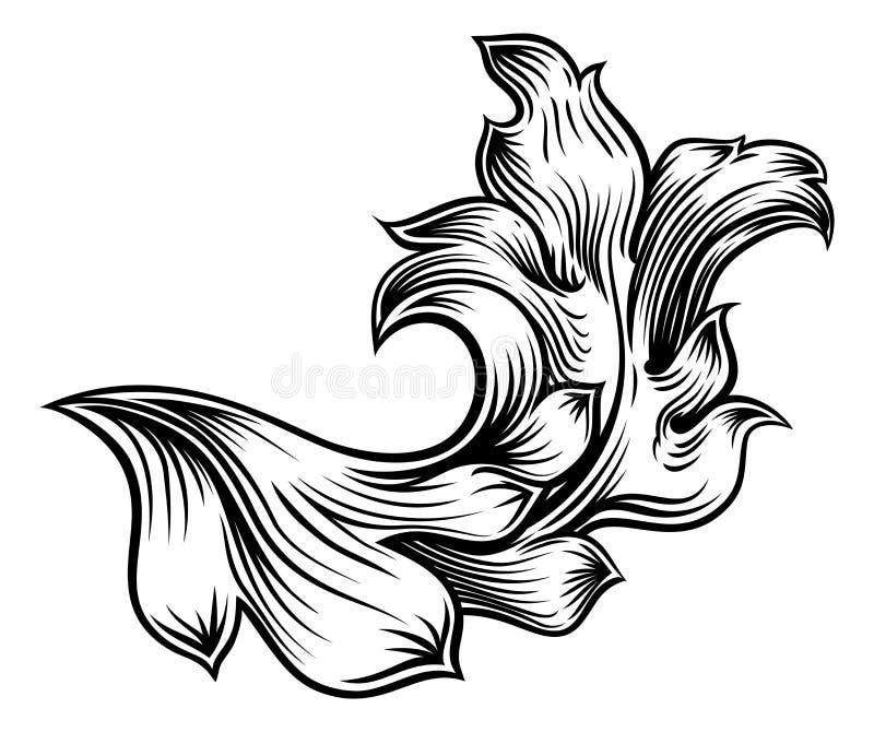 花卉金银细丝工的样式纸卷纹章设计 皇族释放例证