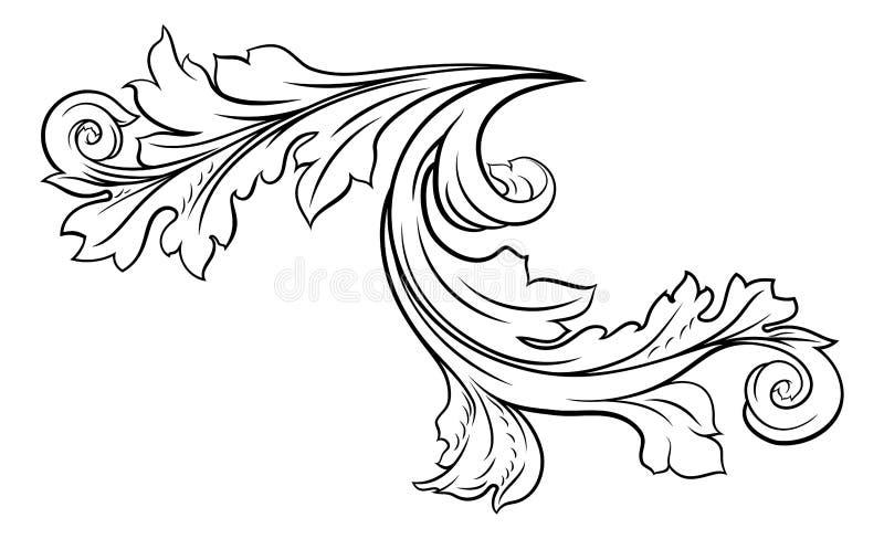 花卉金银细丝工的样式纸卷设计 向量例证