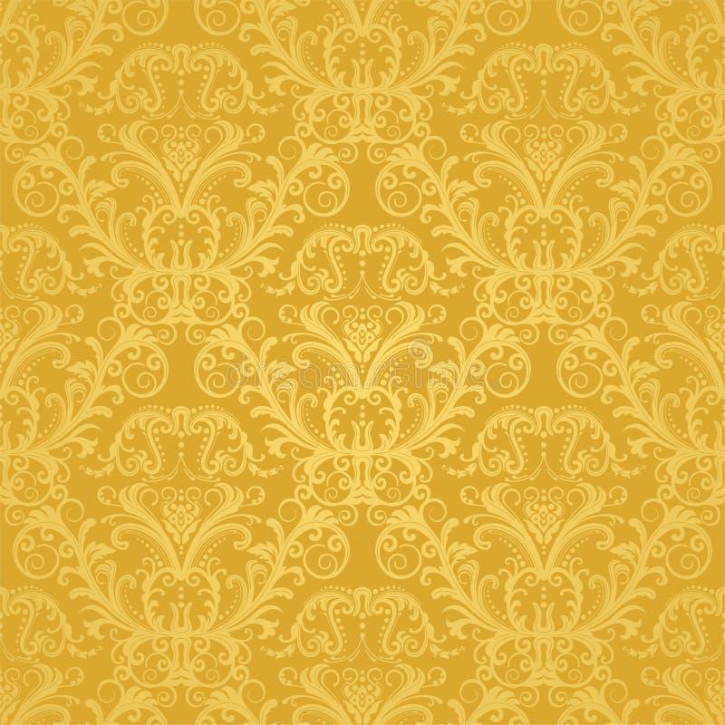 花卉金黄豪华无缝的墙纸 向量例证